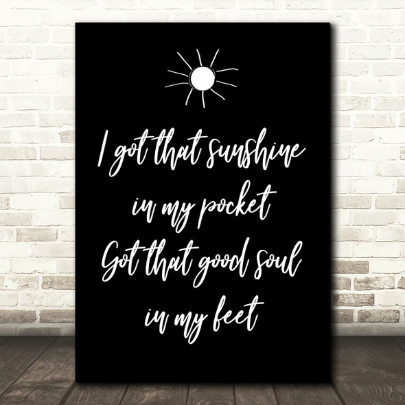 Black Can't Stop The Feeling Justin Timberlake Song Lyric Quote Print