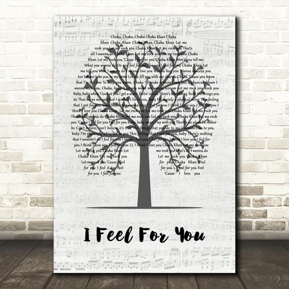 Chaka Khan I Feel For You Music Script Tree Song Lyric Quote Music Print