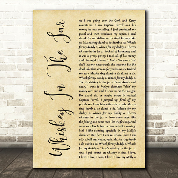 Thin Lizzy Whiskey In The Jar Rustic Script Song Lyric Quote Music Print