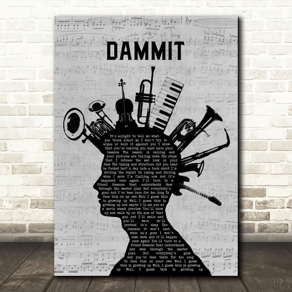 Blink-182 Dammit Musical Instrument Mohawk Song Lyric Quote Music Print