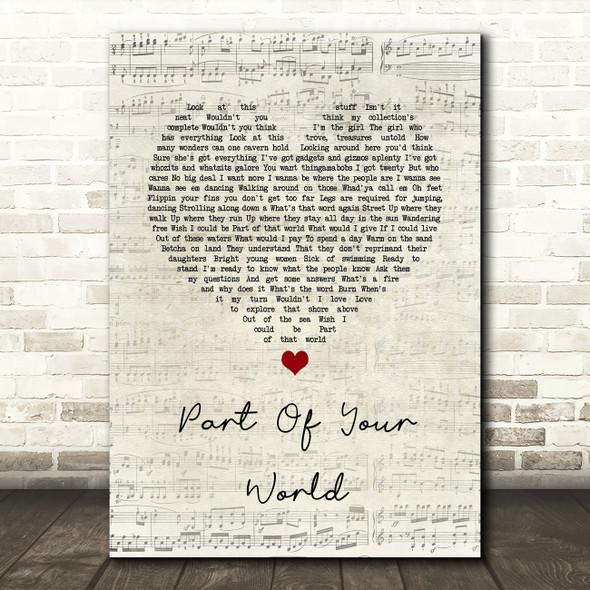 The Little Mermaid Part of Your World Script Heart Song Lyric Quote Music Print
