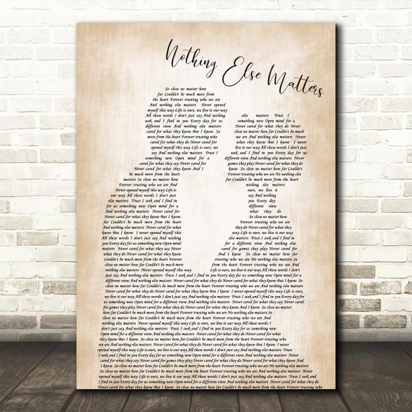 Metallica Nothing Else Matters Song Lyric Man Lady Bride Groom Wedding Print