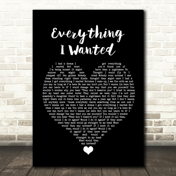Billie Eilish Everything I Wanted Black Heart Song Lyric Quote Music Print