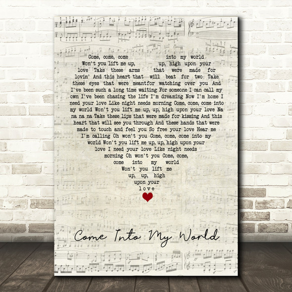 Kylie Minogue Come Into My World Script Heart Song Lyric Quote Music Print