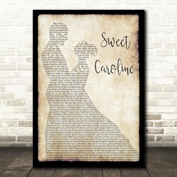 Neil Diamond Sweet Caroline Man Lady Dancing Song Lyric Quote Music Print