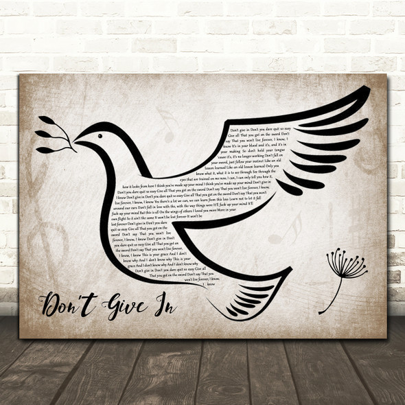 Snow Patrol Don't Give In Vintage Dove Bird Song Lyric Quote Music Print