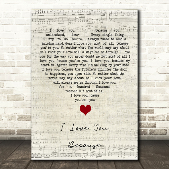 Jim Reeves I Love You Because Script Heart Song Lyric Quote Music Print
