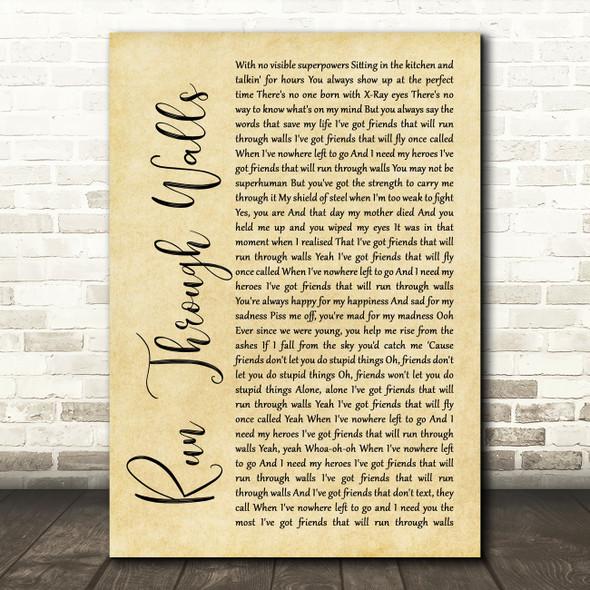 The Script Run Through Walls Rustic Script Song Lyric Quote Music Print