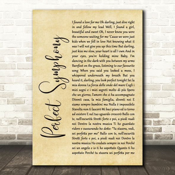Ed Sheeran & Andrea Bocelli Perfect Symphony Rustic Script Song Lyric Quote Music Print