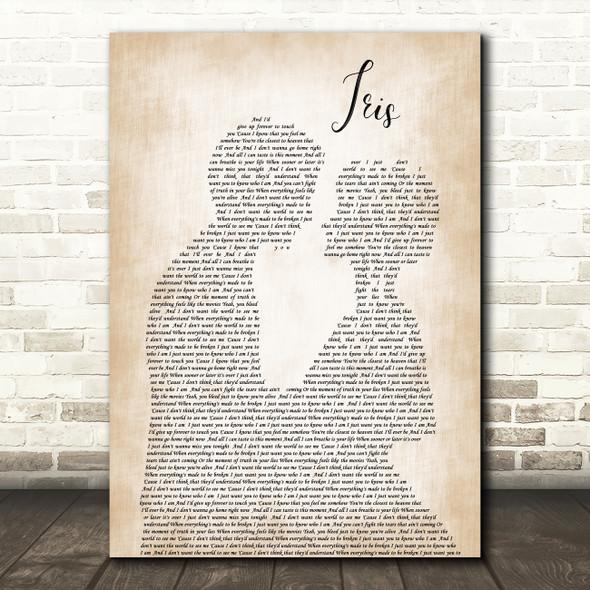 Goo Goo Dolls Iris Man Lady Bride Groom Wedding Song Lyric Quote Print