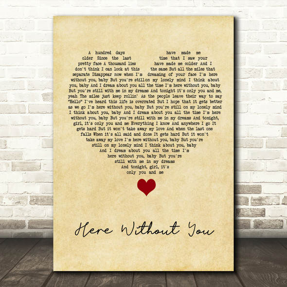 3 Doors Down Here Without You Vintage Heart Song Lyric Quote Music Print