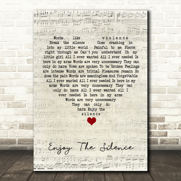 Depeche Mode Enjoy The Silence Script Heart Song Lyric Quote Music Print