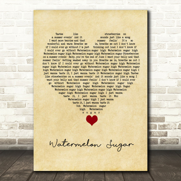 Harry Styles Watermelon Sugar Vintage Heart Song Lyric Quote Music Print