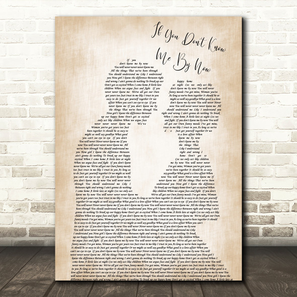 Simply Red If You Don't Know Me By Now Man Lady Bride Groom Wedding Song Lyric Quote Print