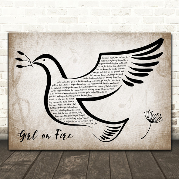 Alicia Keys Girl on Fire Vintage Dove Bird Song Lyric Quote Music Print