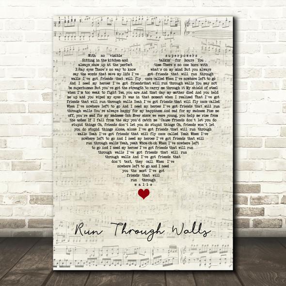 The Script Run Through Walls Script Heart Song Lyric Quote Music Print