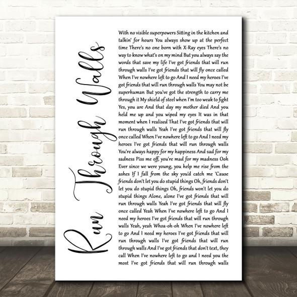 The Script Run Through Walls White Script Song Lyric Quote Music Print