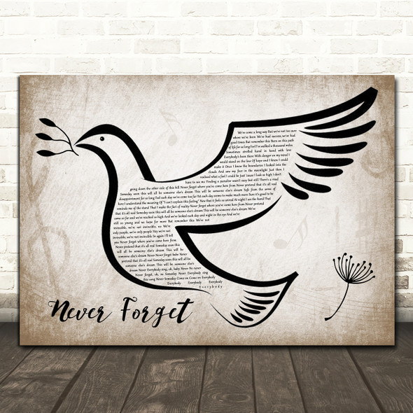 Take That Never Forget Vintage Dove Bird Song Lyric Quote Music Print