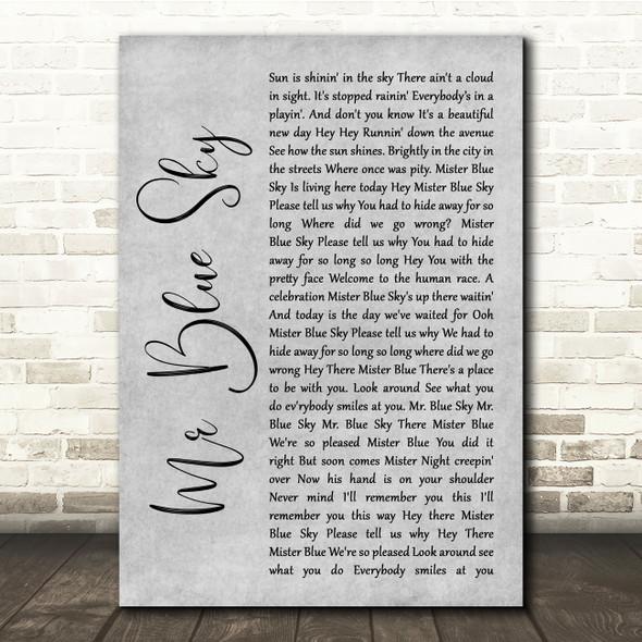 ELO Mr Blue Sky Grey Rustic Script Song Lyric Quote Music Print