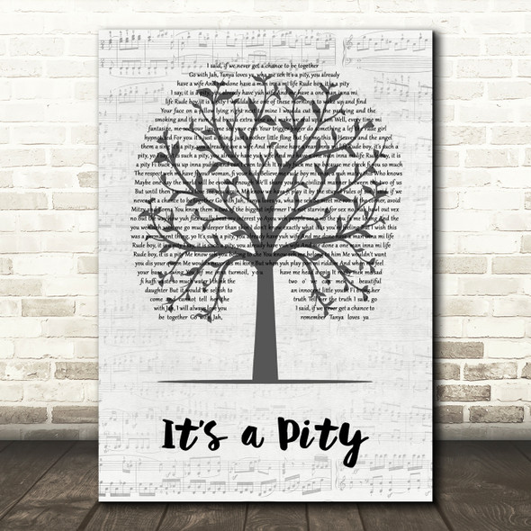 Laid Blak feat Tanya Lacey It's a Pity Music Script Tree Song Lyric Quote Music Print
