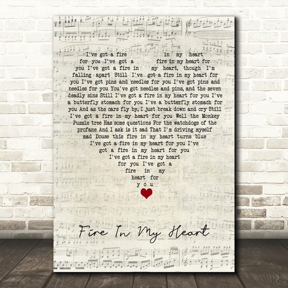 Super Furry Animals Fire In My Heart Script Heart Song Lyric Quote Music Print