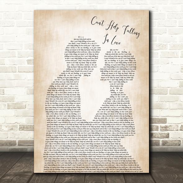 Elvis Presley Can't Help Falling In Love Song Lyric Man Lady Wedding Print