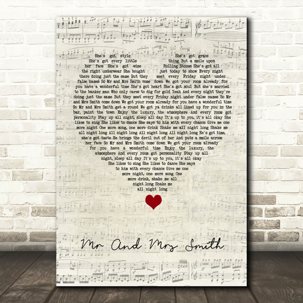 Stereophonics Mr And Mrs Smith Script Heart Song Lyric Quote Music Print