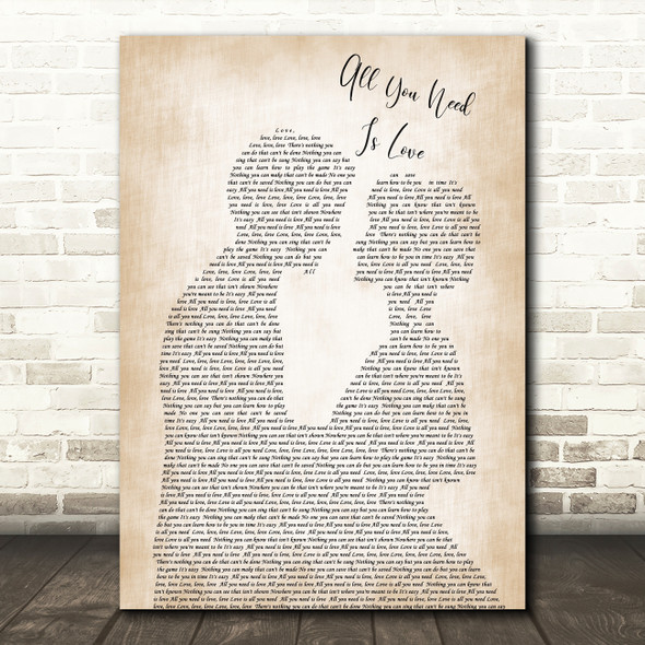 The Beatles All You Need Is Love Song Lyric Man Lady Bride Groom Wedding Print