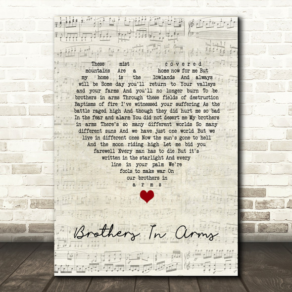 Dire Straits Brothers In Arms Script Heart Song Lyric Quote Music Print