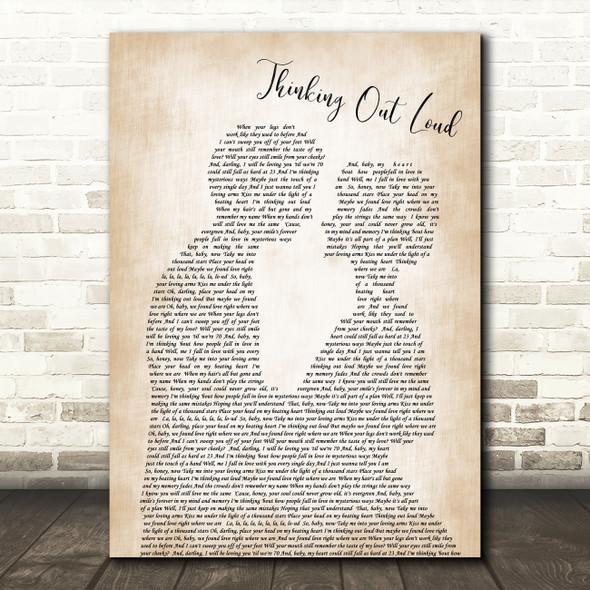 Ed Sheeran Thinking Out Loud Song Lyric Man Lady Bride Groom Wedding Print