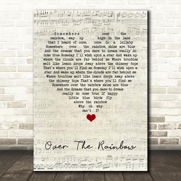 Eva Cassidy Over The Rainbow Script Heart Song Lyric Quote Music Print