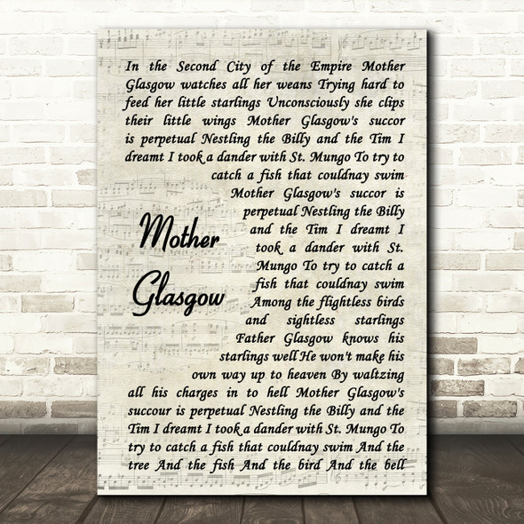 Hue and Cry Mother Glasgow Vintage Script Song Lyric Quote Music Print