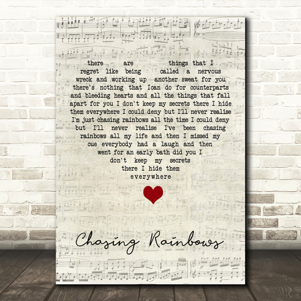 Shed Seven Chasing Rainbows Script Heart Song Lyric Quote Music Print