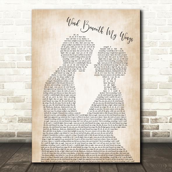 Bette Midler Wind Beneath My Wings Song Lyric Man Lady Bride Groom Wedding Print