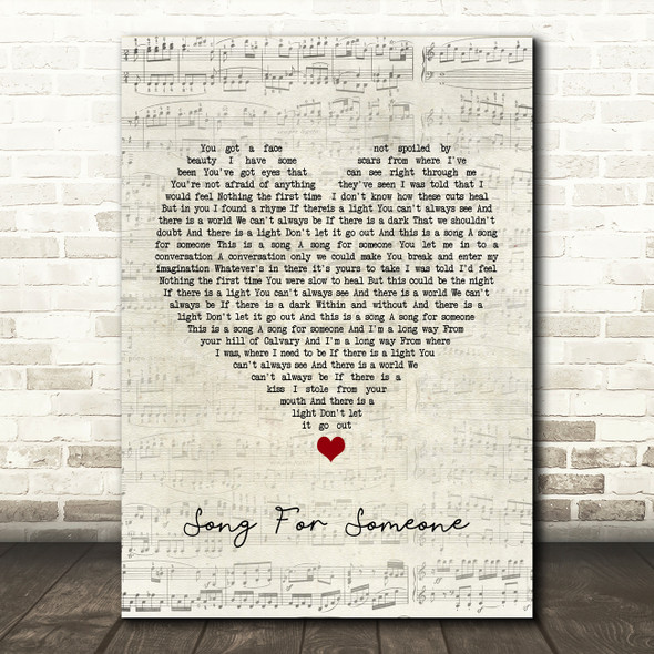 U2 Song For Someone Script Heart Song Lyric Quote Music Print