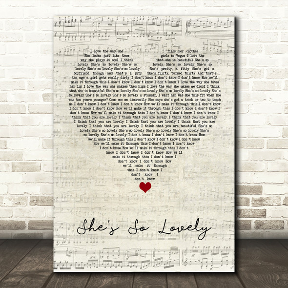 Scouting For Girls She's So Lovely Script Heart Song Lyric Quote Music Print