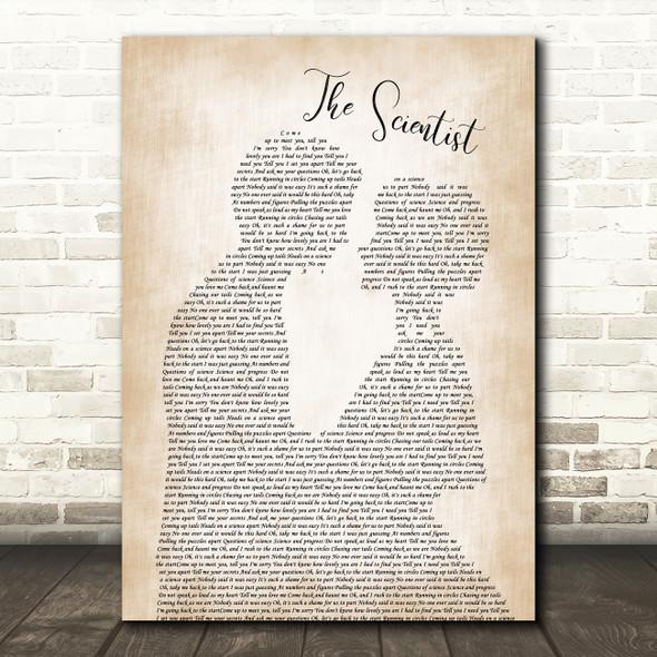 Coldplay The Scientist Song Lyric Man Lady Bride Groom Wedding Print