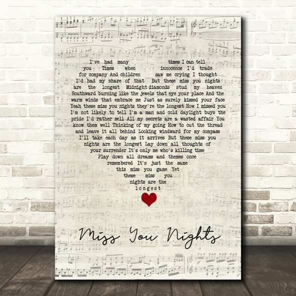 Cliff Richard Miss You Nights Script Heart Song Lyric Quote Music Print