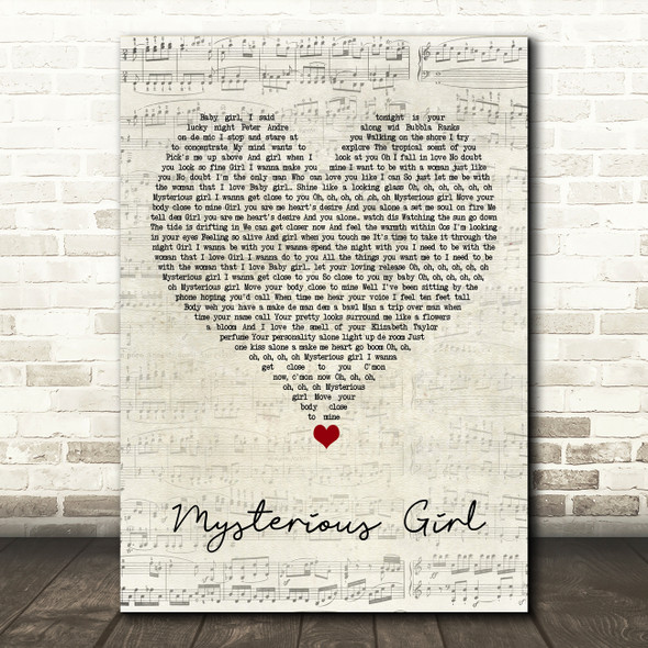 Peter Andre Mysterious Girl Script Heart Song Lyric Quote Music Print