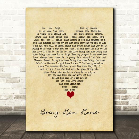 Alfie Boe Bring Him Home Vintage Heart Song Lyric Quote Music Print