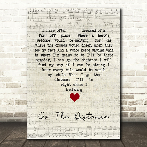 Hercules Go The Distance Script Heart Song Lyric Quote Music Print