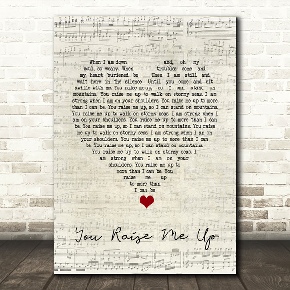 Westlife You Raise Me Up Script Heart Song Lyric Quote Music Print