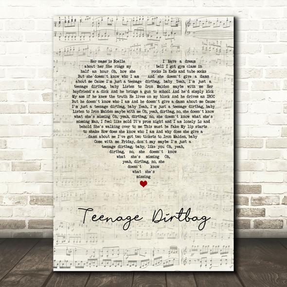 Wheatus Teenage Dirtbag Script Heart Song Lyric Quote Music Print