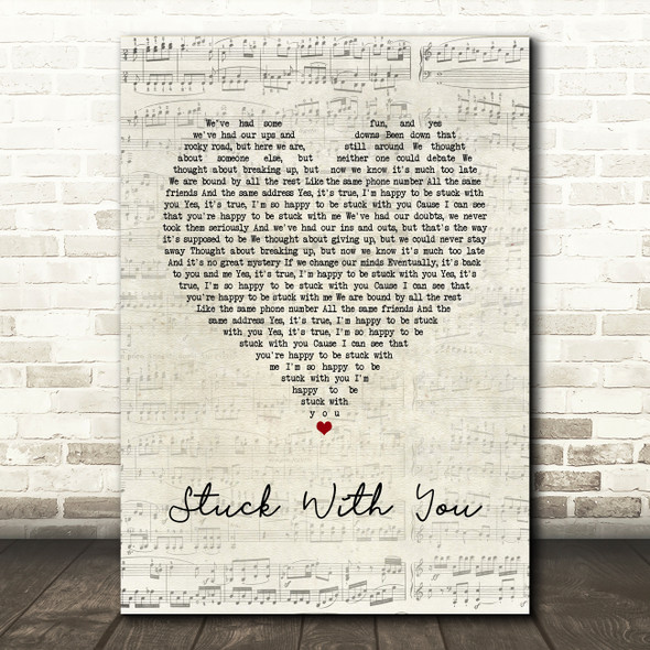 Huey Lewis And The News Stuck With You Script Heart Song Lyric Quote Music Print