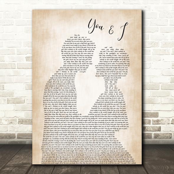 John Legend You & I Song Lyric Man Lady Bride Groom Wedding Print