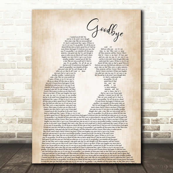 Lionel Richie Goodbye Song Lyric Man Lady Bride Groom Wedding Print