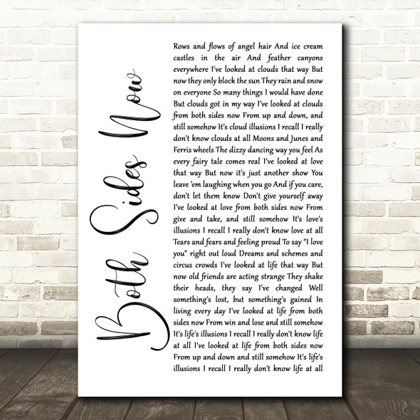 Joni Mitchell Both Sides Now White Script Song Lyric Quote Music Print