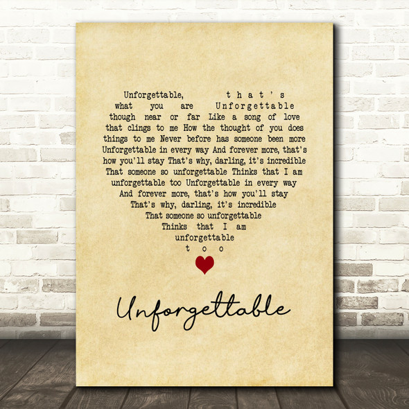 Nat King Cole Unforgettable Vintage Heart Song Lyric Quote Music Print