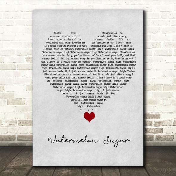 Harry Styles Watermelon Sugar Grey Heart Song Lyric Quote Music Print
