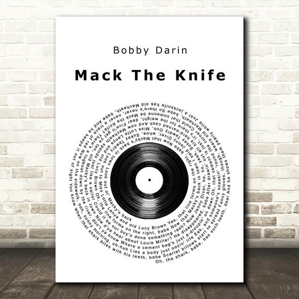 Bobby Darin Mack The Knife Vinyl Record Song Lyric Quote Music Print